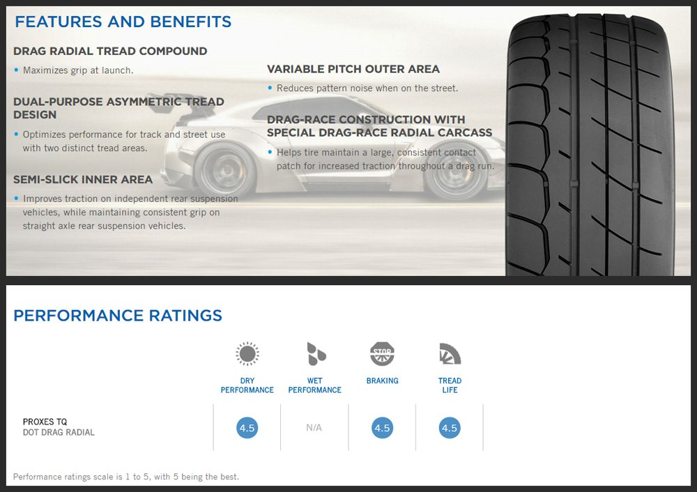 Toyo Proxes TQ Features & Benefits - Drag Tire Buyer